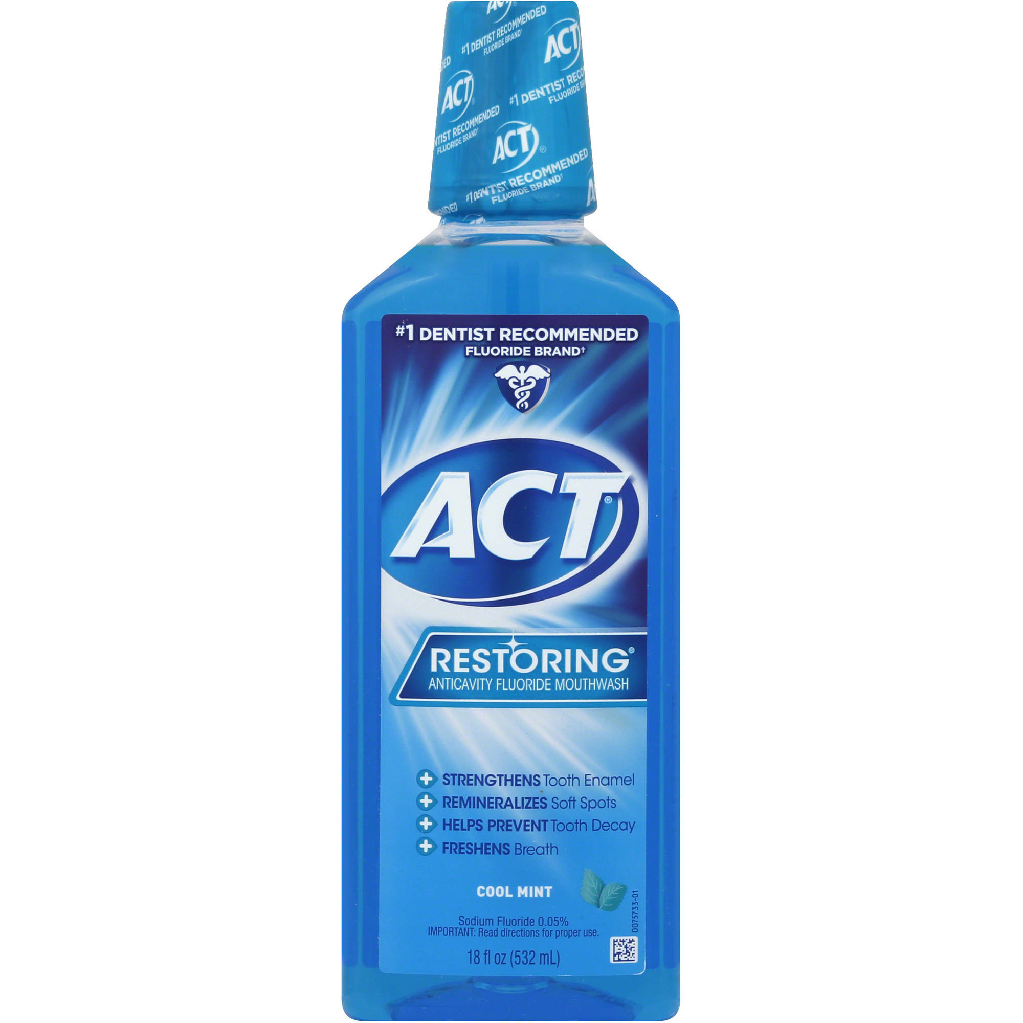 ACT Restoring Anticavity Fluoride Mouthwash Cool Mint, 18 oz