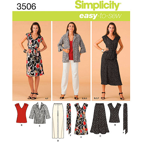 Simplicity Pattern Misses' Plus Size Dress, Top, and Skirt, (20W-28W)
