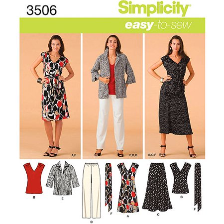 Simplicity Pattern Misses Plus Size Dress Top And Skirt 20w 28w