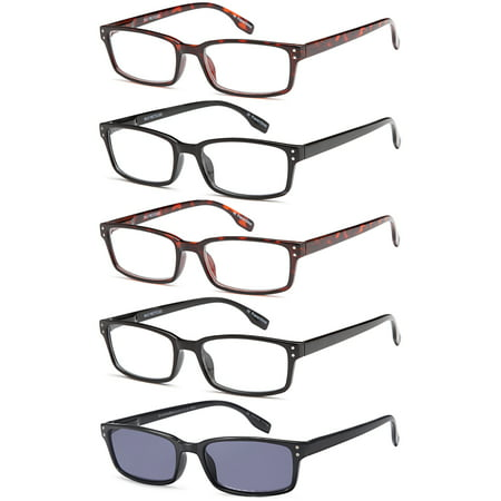 GAMMA RAY READERS 5 Pairs Unisex Readers with Sun Readers Reading Glasses - 1.25x