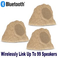 "Theater Solutions B62S Fully Wireless 300 Watt Rechargeable Battery 6.5"" Bluetooth Rock 3 Speaker Set Sandstone Link Up To 99 Speakers Wirelessly"