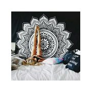 """VICOODA Boho Ethnic Mandala Tapestry Bedding with Pillow Covers, Wall Hanging, Hippy Mat Blanket or Beach Throw, Ombre Mandala Bedspread for Bedroom 57.87""""X57.87"""""""