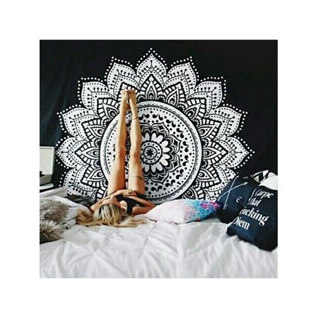 VICOODA Boho Ethnic Mandala Tapestry Bedding with Pillow Covers, Wall Hanging, Hippy Mat Blanket or Beach Throw, Ombre Mandala Bedspread for Bedroom