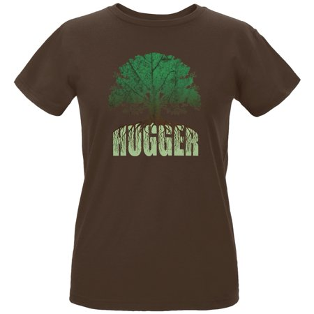 Earth Day - Rooted Tree Hugger Women's Organic Chocolate T-Shirt
