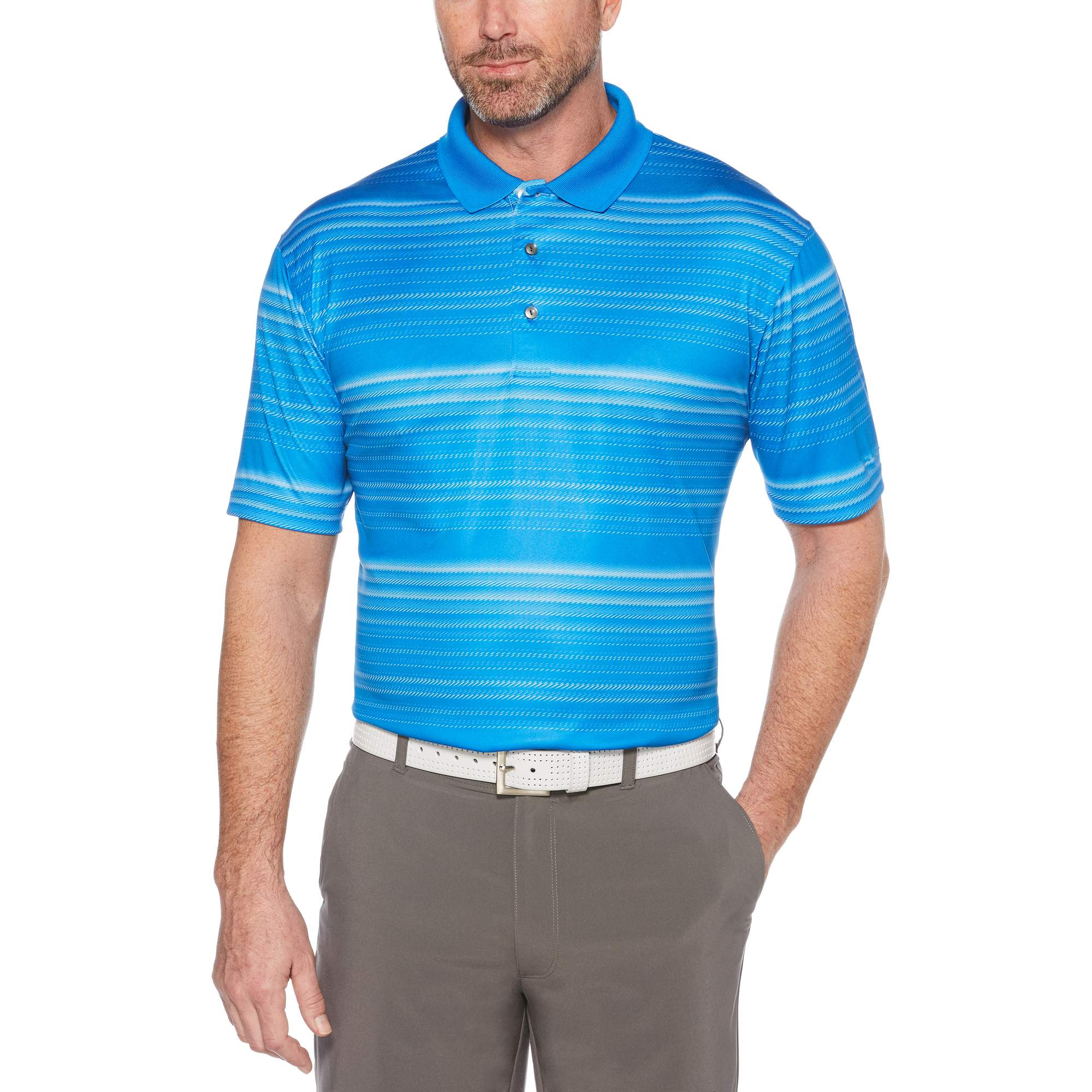 Men's Performance Short Sleeve Fading Stripe Polo Shirt, up to 5XL