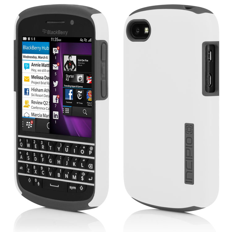 Incipio - DualPro Case for BlackBerry Q10 - White/Gray