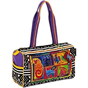 Laurel Burch Medium Satchel Zipper Top 15-Inch by 5-Inch by 10-Inch, Dog Tails Patchwork