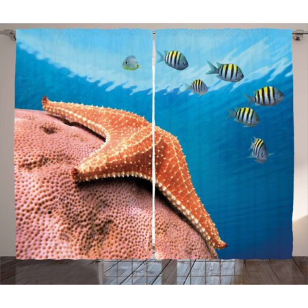 Starfish Curtains 2 Panels Set, Starfish Hard Coral with Group of Damselfish Water Surface Caribbean Sea Colorful, Window Drapes for Living Room Bedroom, 108W X 96L Inches, Multicolor, by Ambesonne