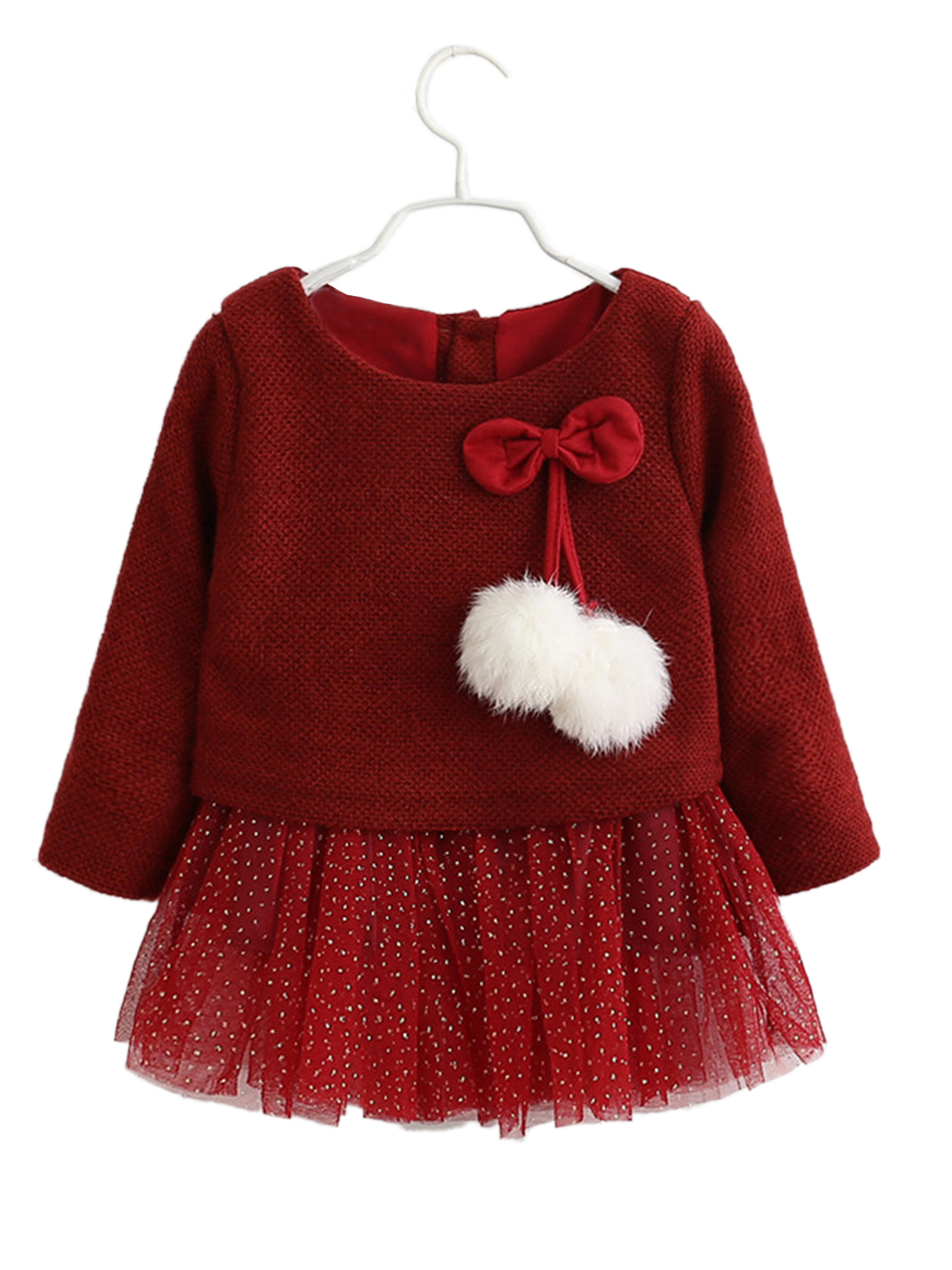 StylesILove Infant Baby Girl Knit Sweater with Gold Sequin Tutu Skirt (70/3-6 Months, Red)