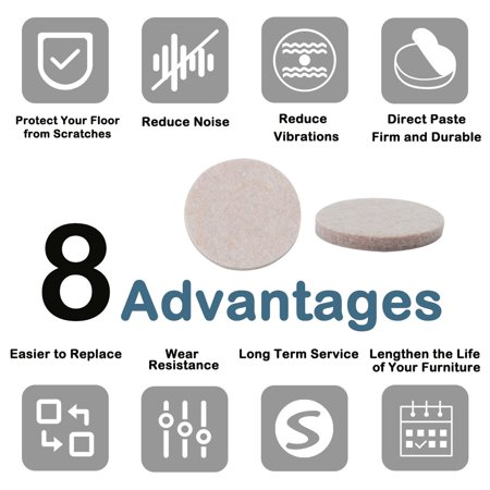 "Furniture Pads Round 1 3/4"" Self-stick Anti-scratch Table Floor Protector 24pcs - image 1 of 7"