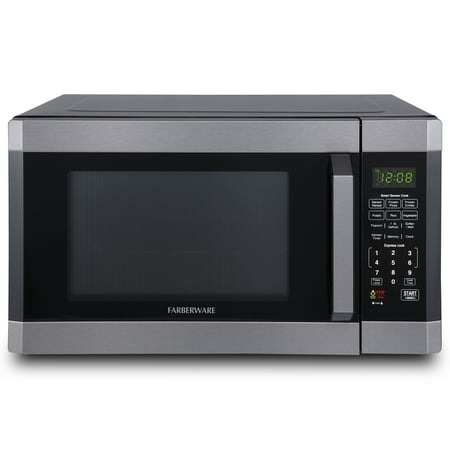 Farberware Black FMO16AHTBSD 1.6 Cu. Ft. 1100-Watt Microwave Oven with Smart Sensor Cooking, ECO Mode and LED Lighting, Black Stainless Steel