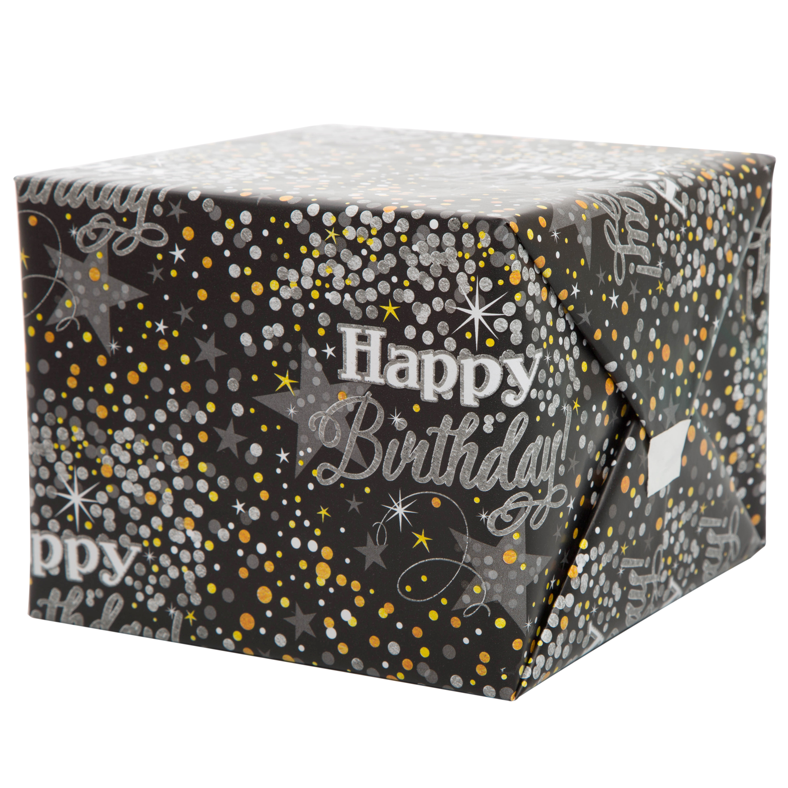 Silver Glittering Birthday Wrapping Paper