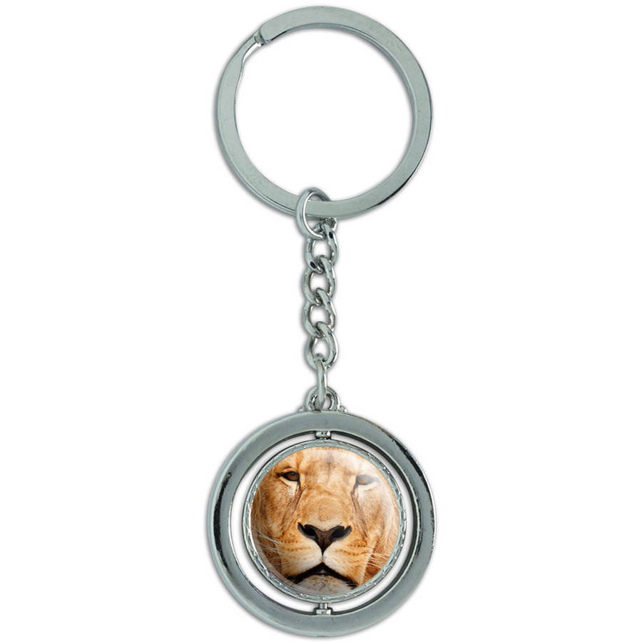 Portrait Of A Male Lion Spinning Round Metal Key Chain Keychain Ring
