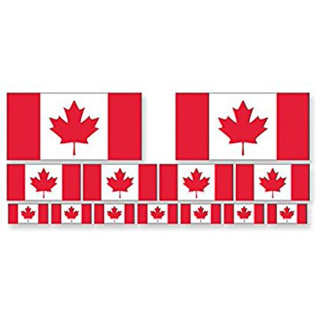 SHEET of Multiple Size Canadian Flag Sticker Decal ics (scrapbooking small canada) Sizes: 2@ 2x4 inch; 4@ 1x2 inch; 7@.5x1 inch](2x4 Halloween Crafts)