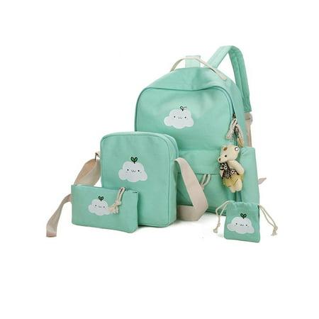 Anyprize 5 Pcs/Sets Canvas Backpacks for School for Girls, Green Classic Canvas Backpack for Students/School, 1 Backpacks+1 Shoulder Bag+1 Handbag+1 Pencil Bag+1 wallet for Middle School](Classic School Girl)