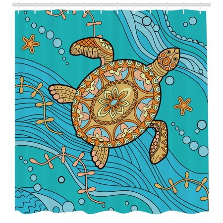 Turtle Shower Curtain Doodle Of Sea On Water Surface Artistic Maritime Inspirations Pattern Artwork
