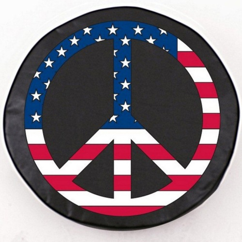 Tire Cover by Holland Bar Stool - USA Peace Sign, Black - 24'' x 8''
