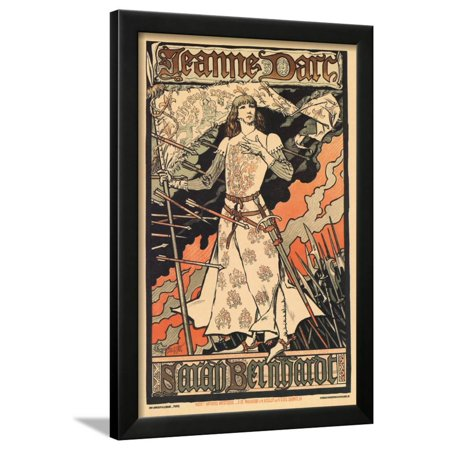 Sara Bernhardt as Joan of Arc Framed Print Wall Art By Alphonse Mucha