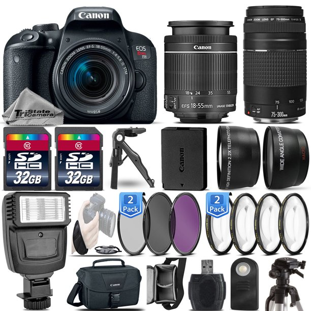 Canon EOS Rebel T7i / 800D DSLR Camera + 18-55mm IS STM + 75-300 III -64GB Kit