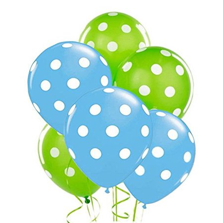 Polka Dot Balloons 11in Premium Baby Blue and Lime Green with All-Over print white Dots Pkg/50