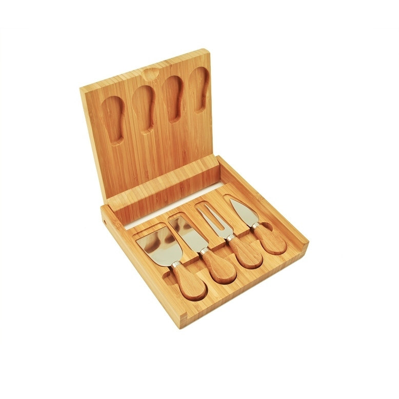 Cheese Knives Set, Stainless Steel Knife Tool Bamboo Cutting Board Cheese Serving (Sold by Case, Pack of 6)
