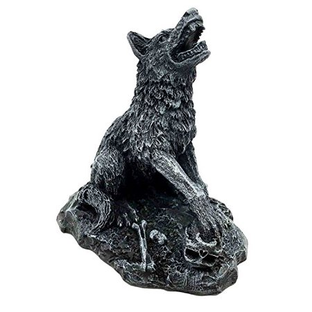 Howling Grey Alpha Wolf Figurine Statue Crushing Skull Moon Seeker