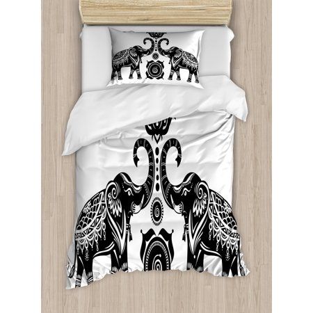 Ethnic Duvet Cover Set Symmetrical Elephants With Tribal Motifs And