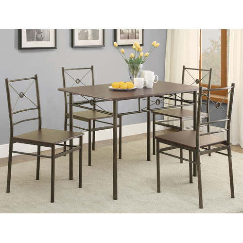 Coaster Company 5pc Metal and Wood Dinette in Dark Bronze Finish