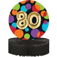 "Balloon Birthday 12"" x 9"" Shaped 80th Birthday Honeycomb Centerpiece"