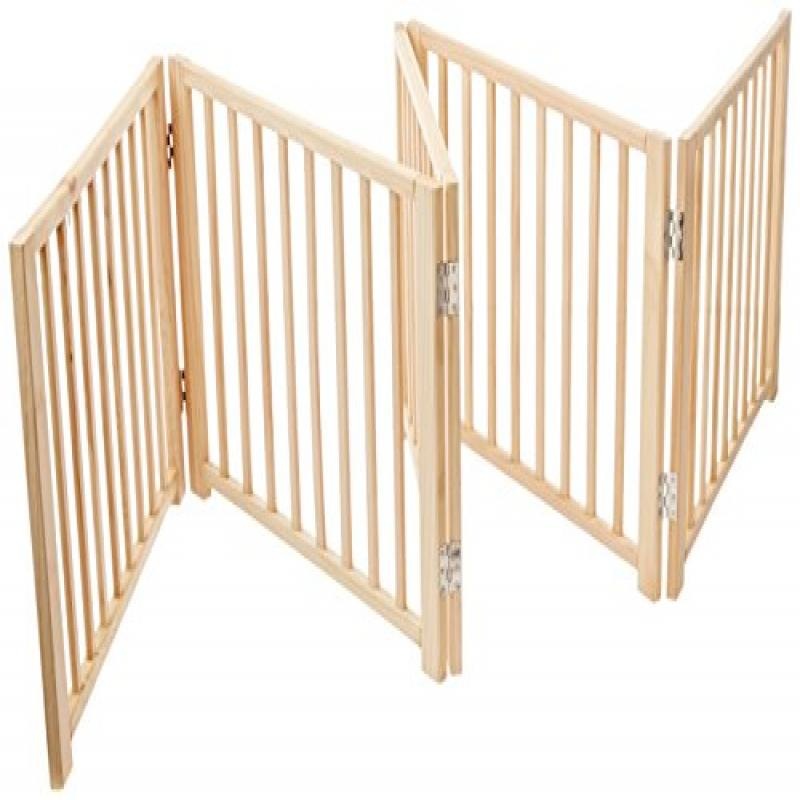 Four Paws 5 Panel Free Standing Walk Over Wooden Dog Gate...