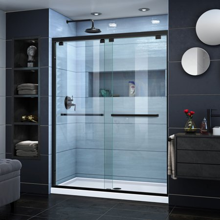 DreamLine Encore 50-54 in. W x 76 in. H Semi-Frameless Bypass Shower Door in Satin Black