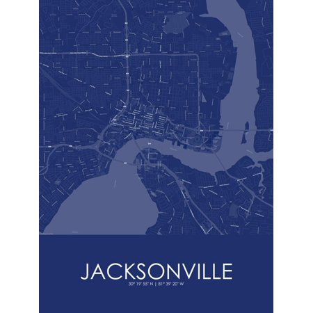 Jacksonville, United States of America Blue Map Poster Wall Art