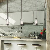 LNC Brown Finished Pendant Lighting for Kitchen Island,Glass Shade Modern Farmhouse Hanging Ceiling Lamp