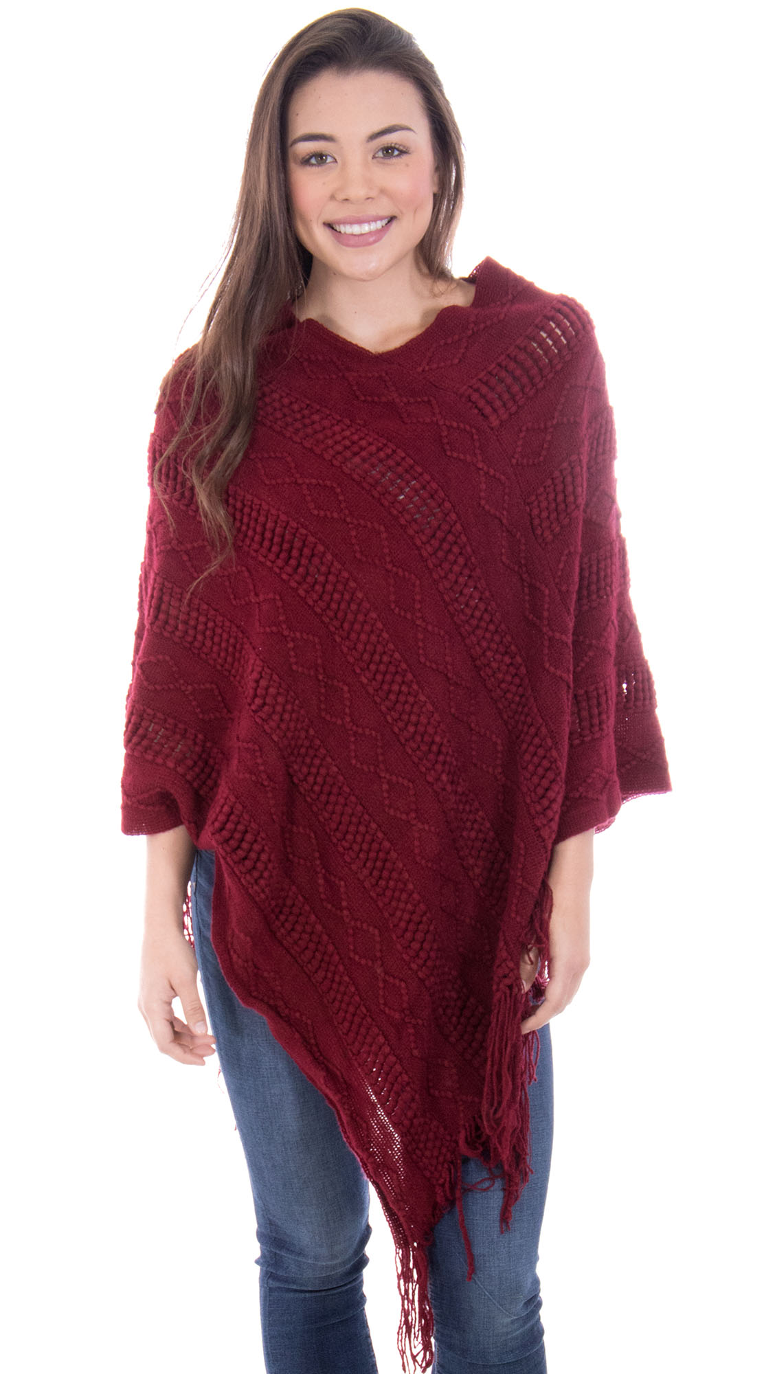 Ponchos for Women Knitted Pullover Sweater Poncho Shawl Burgundy by