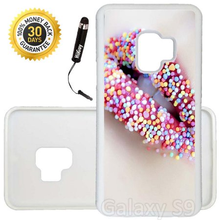 Custom Galaxy S9 Case (Sweet Candy Lips) Edge-to-Edge Rubber White Cover Ultra Slim | Lightweight | Includes Stylus Pen by