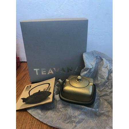 TEAVANA Metallic Gold Black Yoho Cast Iron Square Teapot 12 Oz Ships N 24h