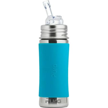 Pura Kiki 11 Oz / 325 Ml Stainless Steel Bottle With Silicone Straw & Sleeve, Aqua Swirl (plastic Free, Nontoxic Certified, Bpa