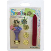 Manuscript Pen Decorative 'Christmas Tree, Holly & Snowman' Coins Sealing Set with Red Wax