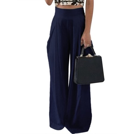 Blue Stretch Pants - Womens Chiffon High Waist  Zip Up Solid Wide Leg Pants Trousers