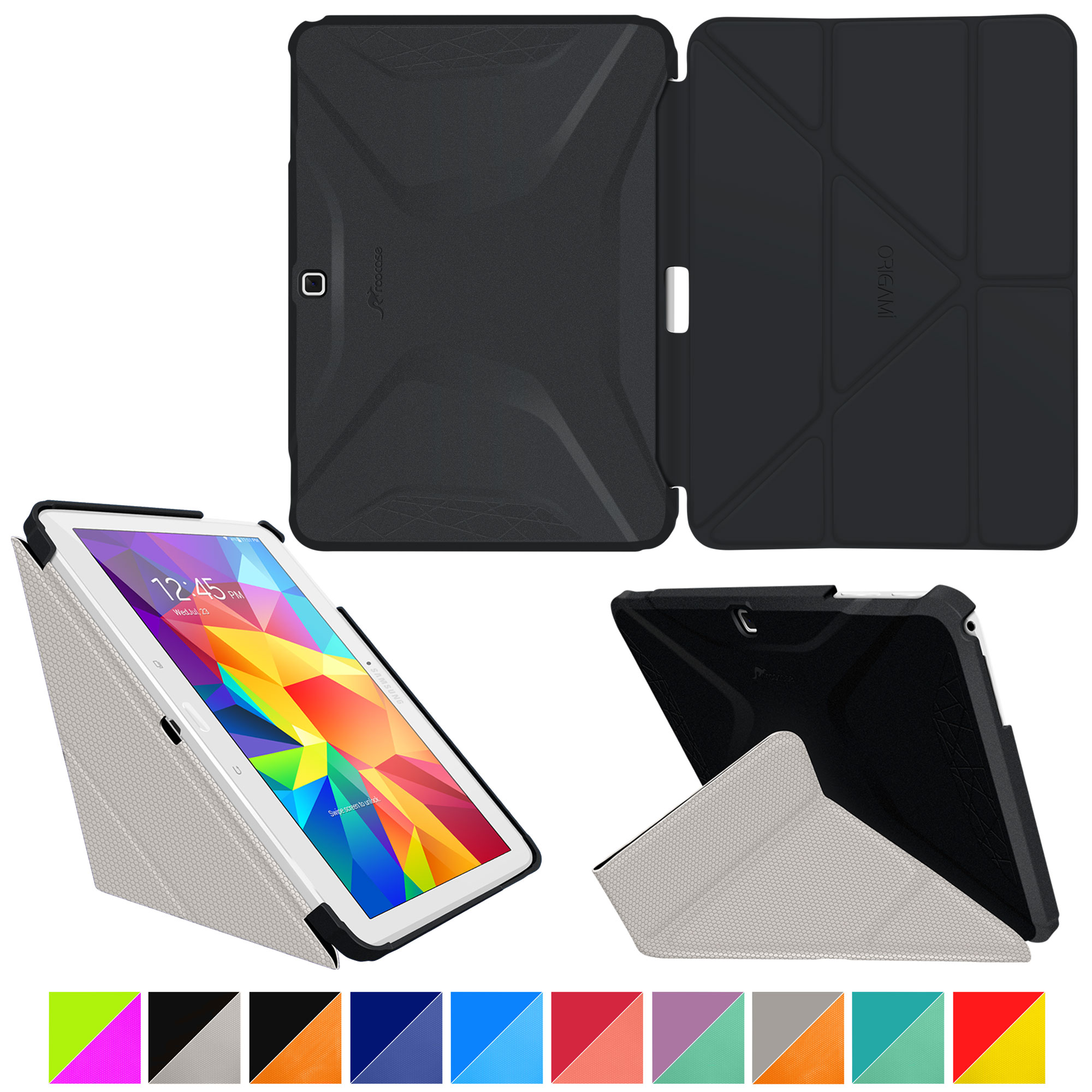 Galaxy Tab 4 10.1 Case, Samsung Galaxy Tab 4 10.1 Case, Origami Slim Fit Shell Lightweight Folio Leather PU Smart Cover Wake / Sleep Stand, Black/Gray