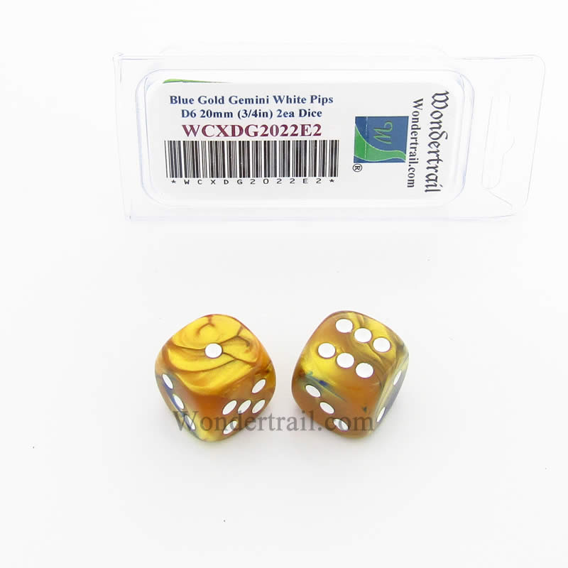 Blue and Gold Gemini Dice with White Pips 20mm (3/4in) D6 Pack of 2 Wondertrail