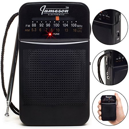 AM // FM Portable Pocket Radio with Best Reception - Small Battery Operated Personal Transistor, Built-in Speaker, 3.5mm Headphone Jack, Easy Tuning, Antenna - Powered by AA Batteries