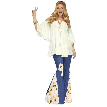 Flower Power Bell Bottoms Adult Halloween Costume - Costume Flower