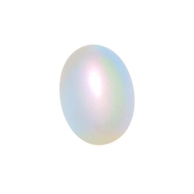 Matte Opal Rainbow Foil Glass Cabochon 18x13mm Oval (1)