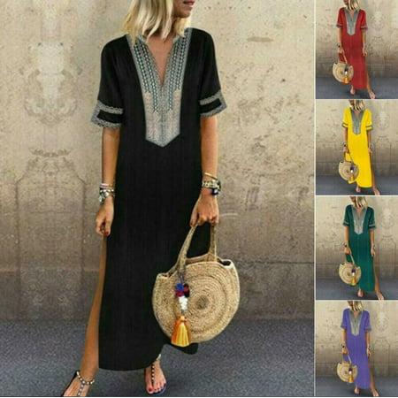 Plus Size Women Summer Vintage V-Neck Boho Dress Woman Short Sleeve Long Maxi Holiday Beach Dress Ladies Loose Sundress S-5XL](Purple Brocade Dress)