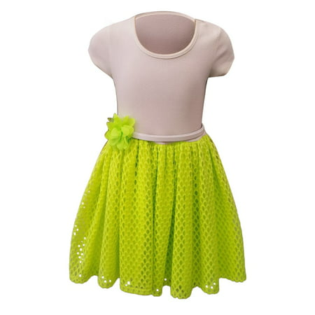 Girls Green Mesh Flower Skirt Short Sleeve Bodice Summer Dress - Girls Green Dresses