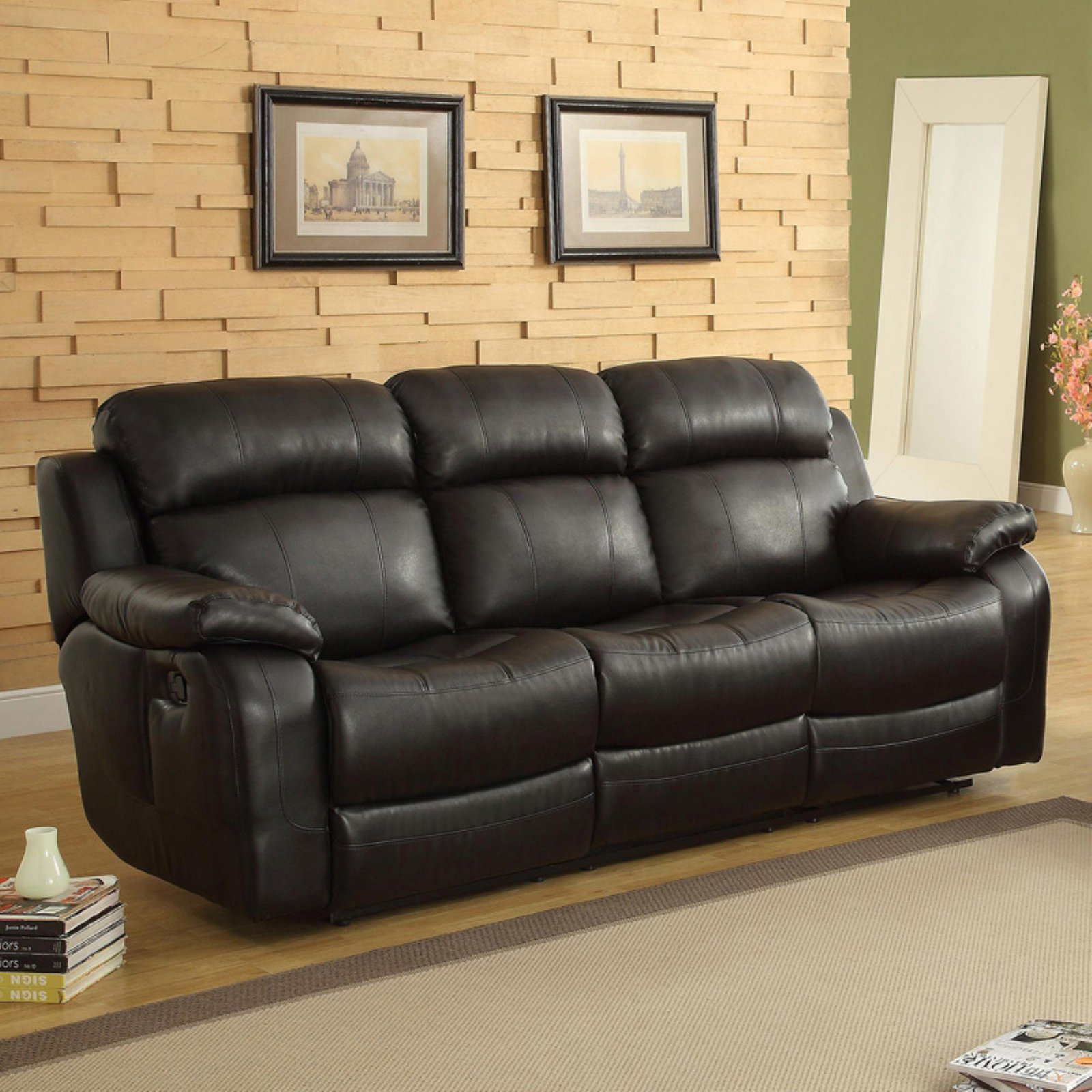Weston Home Darrin Leather Reclining Sofa with Console - Black & Weston Home Darrin Leather Reclining Sofa with Console - Black ... islam-shia.org