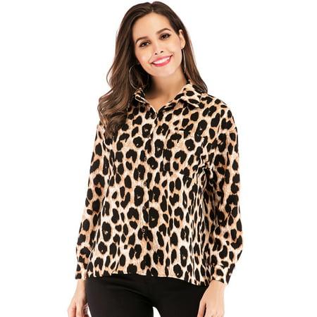 be5b88c20d1c Lelinta - LELINTA Women s Leopard Print Chiffon Blouse Lightweight Chiffon  Shirt Long Sleeve Button Down Shirt Tops L-4XL - Walmart.com