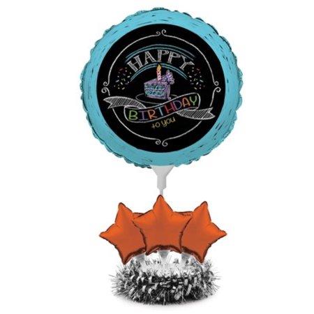 Pack of 4 Bermuda Blue and Orange Chalkboard Star Foil Birthday Party Balloon Centerpiece - Birthday Centerpieces