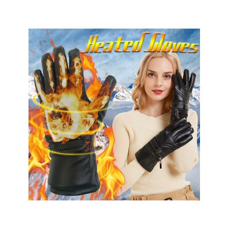 Black Male/Female Touch screen Electric Heated Gloves Winter Warm Leather Gloves Hands Thick Warm Cycling Mittens Sports Gloves +Rechargeable